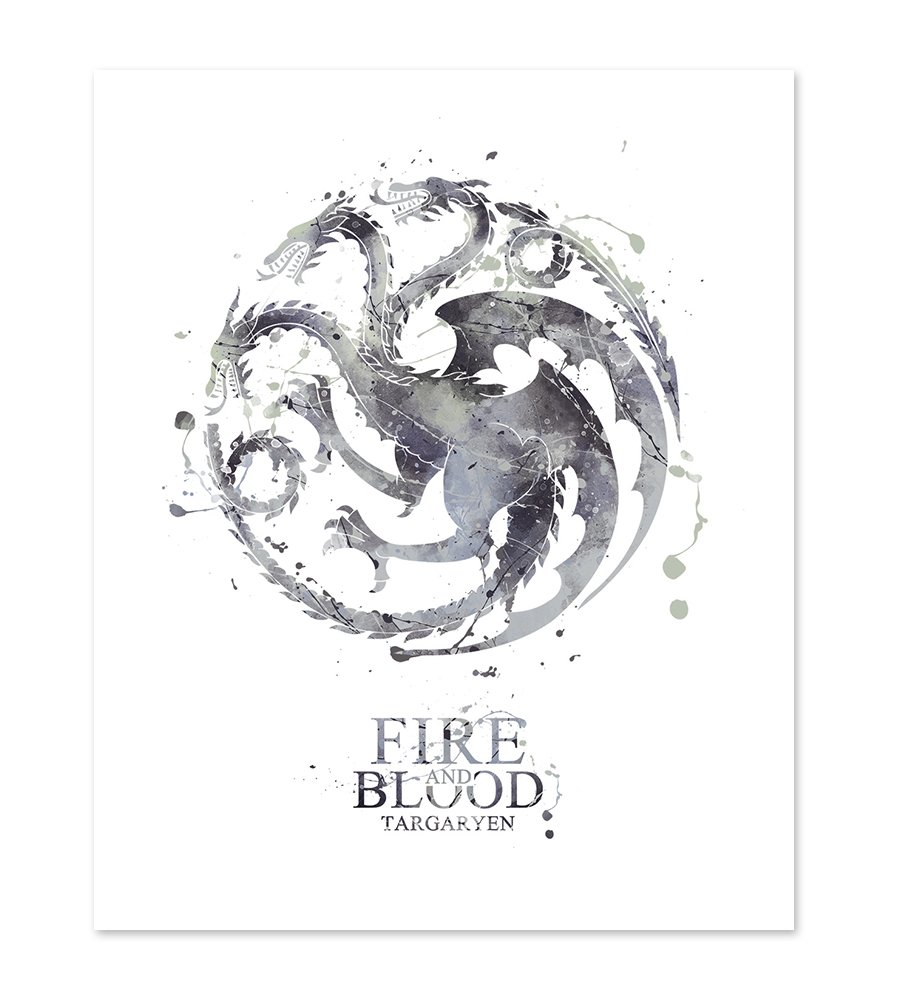 8x10 P42 Game of Thrones Fire and Blood House Targaryen Poster - Watercolor Print inspired Wall Art Home Decor