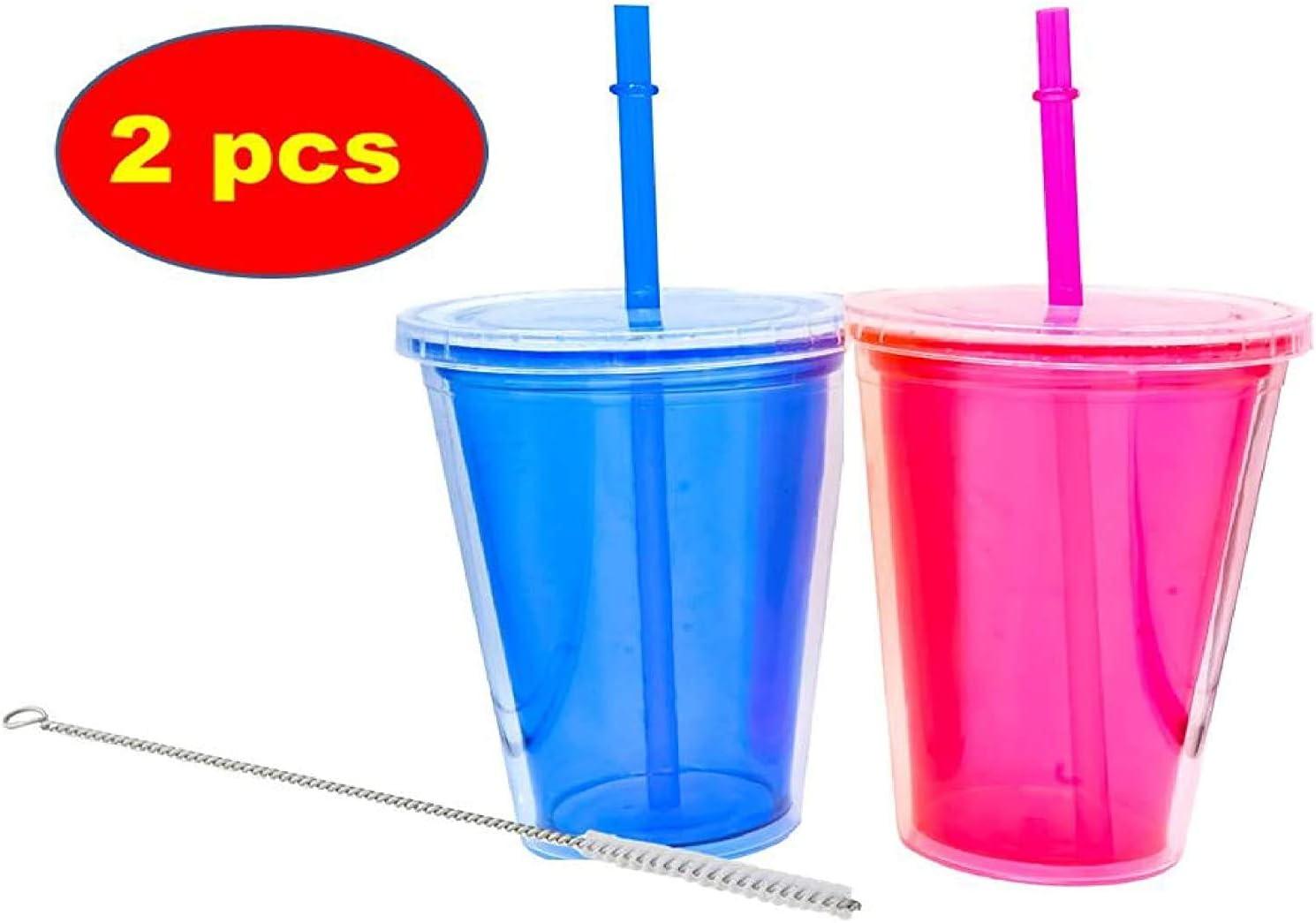 contenitore trasparente senza BPA Confezione da 2 bicchieri di plastica riutilizzabili con doppio isolamento per bevande fredde e frullati con spazzola per pulire cannuccia colore: blu//rosa 500 ml
