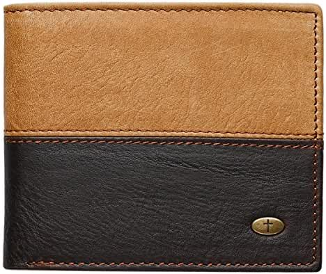 Two-Tone Genuine Leather Wallet w/Cross Stud