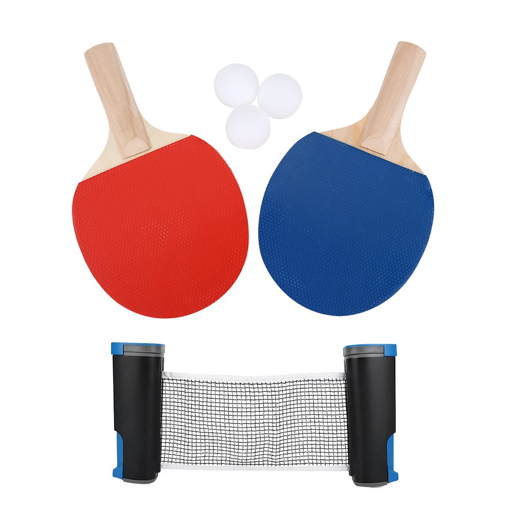 Portable Table Tennis Net Suit, Includes Retractable Net for Any Table, 2 Paddles/Rackets, 3 Balls, Ball Catch Netting with Metal Clamp Posts, Ping Pong Net Set Accessory for Indoor/Outdoor