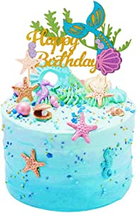 SAKOLLA Glitter Mermaid Birthday Cake Topper - Happy Birthday Cake Decoration for Under The Sea Themed Baby Shower Birthday Party Supplies
