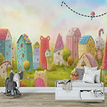 Luufei 3d Photo Wallpaper Cartoon House Castle Children Room Bedroom Background Wall Painting Baby Princess Decor Mural 300 210cm Amazon Co Uk Diy Tools