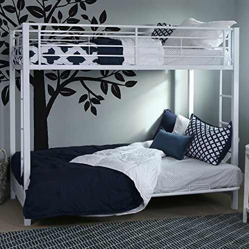 Walker Edison Twin-Over-Futon Metal Bunk Bed, White (Bunk Powder White Coated Bed)