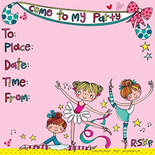 Rachel Ellen Designs–Invitaciones de fiesta–Ballerinas (Pack de 8)
