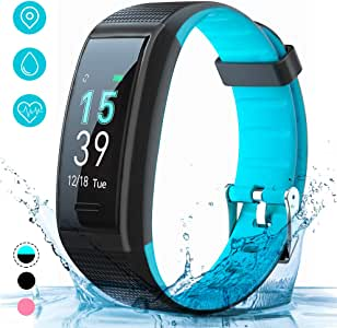 AKASO Fitness Trackers HR with Sleep Monitor, IP68 Waterproof Smart Watch Activity Tracker Kids Women Men with Heart Rate Monitor, Message Notification, Step Calorie Counter for Android and iOS