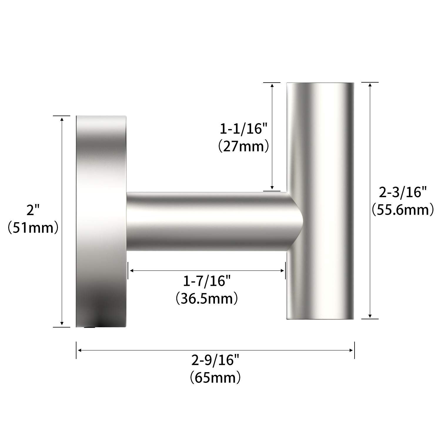 HomGif Towel Robe Hook Wall Mount for Bathroom SUS 304 Stainless Steel Brushed Finish (Silver, 1)