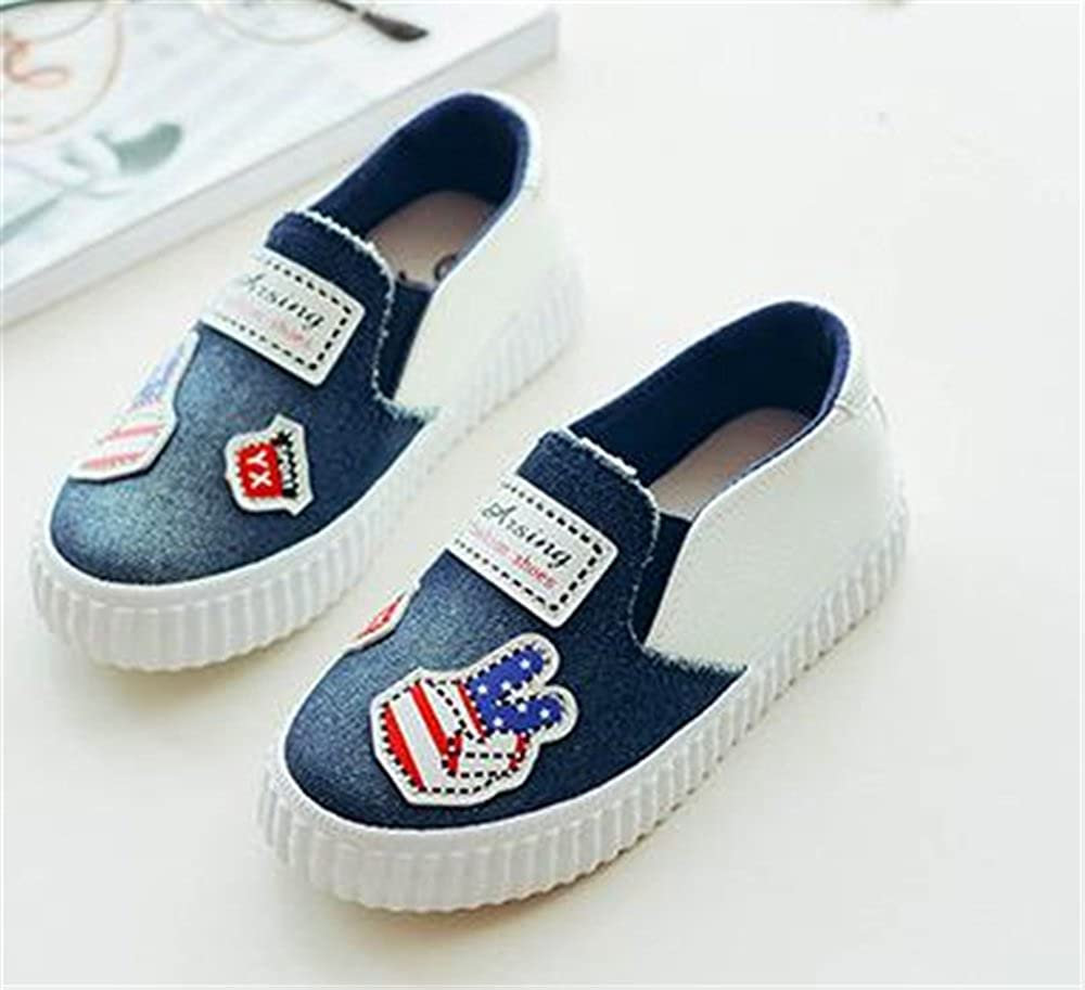 Kids Canvas Round Toe Slip on Flat Sneaker Oxford Boat Shoe