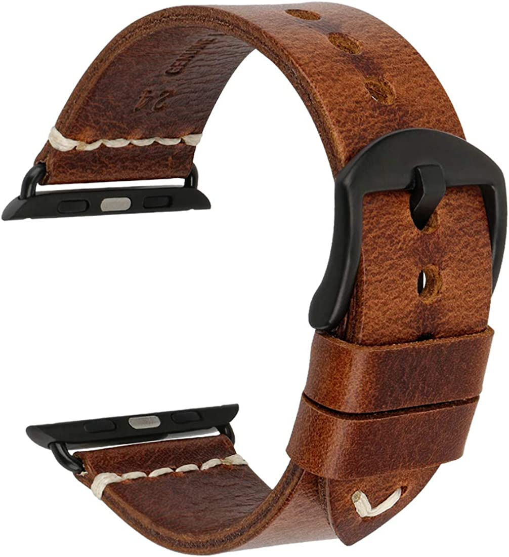 Compatible with Apple Watch Band 44mm 42mm 40mm 38mm, DITOU Genuine Vintage Oil Wax Leather Strap Compatible with Apple Watch Series 5 4 3 2 1