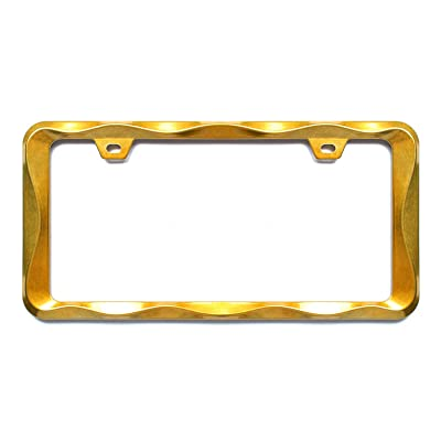 creathome 3D Curly Wave Pattern Gold License Plate Frame from Pure Zinc Alloy Metal: Automotive