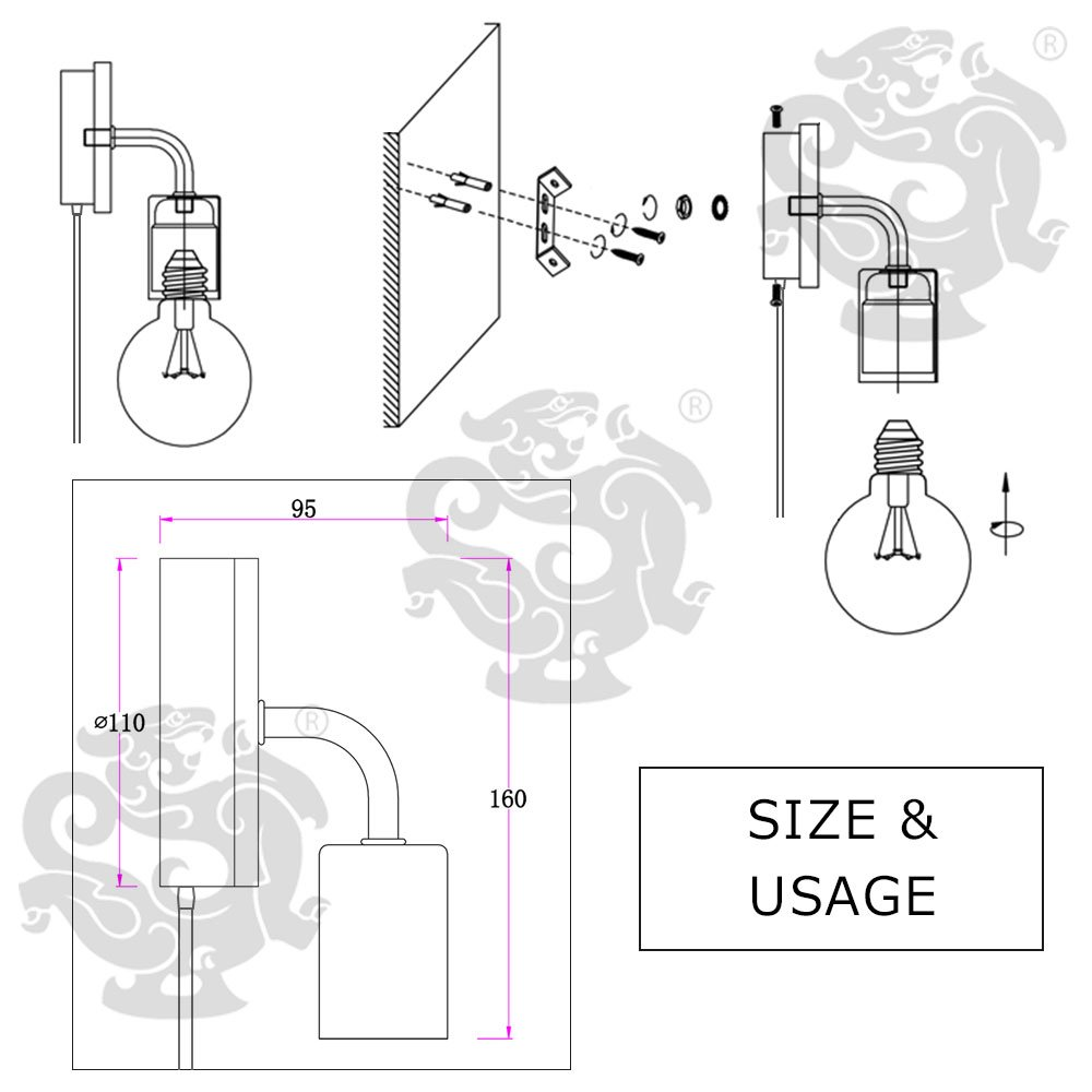 Minimalist Wall Light Sconce Plug-in E26/27 Base Modern Contemporary Style Down Lighting Dimmble Wall Lamp Fixture with Wood Base for Bedroom, Closet, Guest Room Hall Night Lighting (Black) by KIRIN (Image #6)