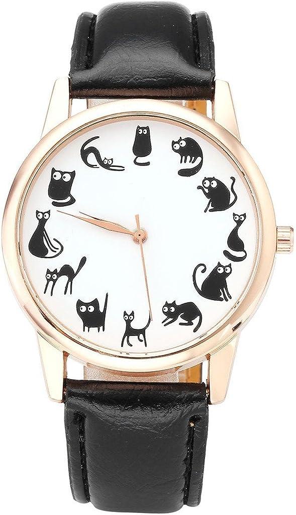 Top Plaza Fun Animal Series Twelve Cute Cats Scale Rose Golden Case PU Leather Strap Womens Girls Quartz Wrist Watch,Black