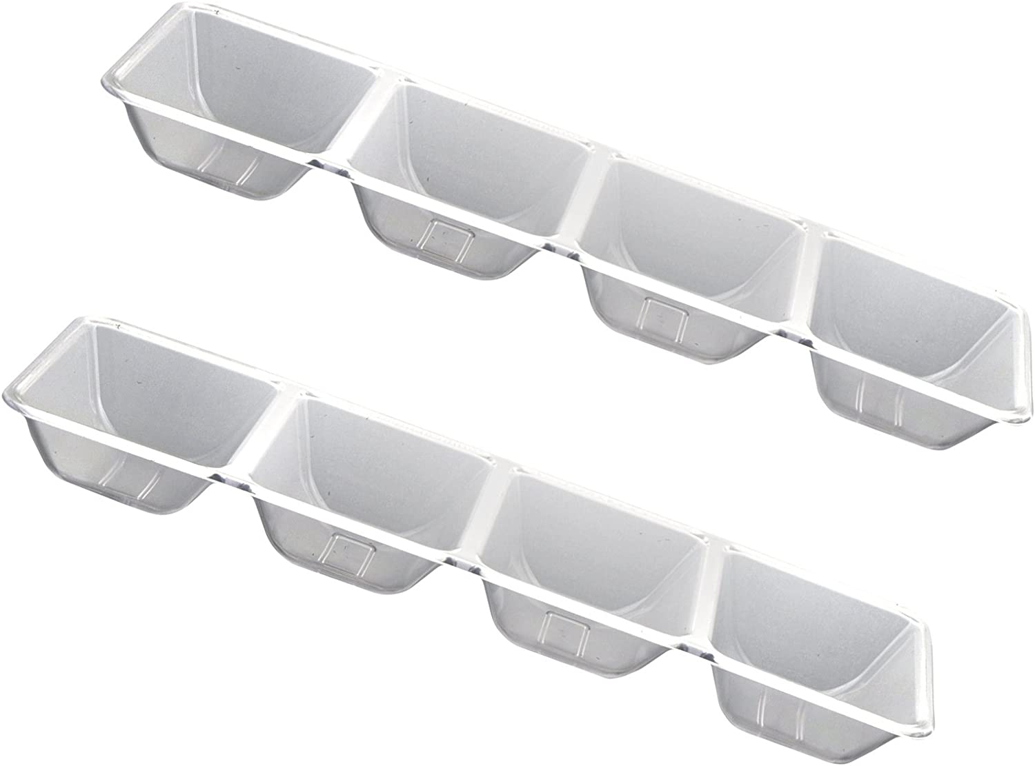 Party Essentials Hard Plastic 4-Compartment Rectangular Serving Trays, 5 x 16 Inches, Crystal Clear, 2-Pack