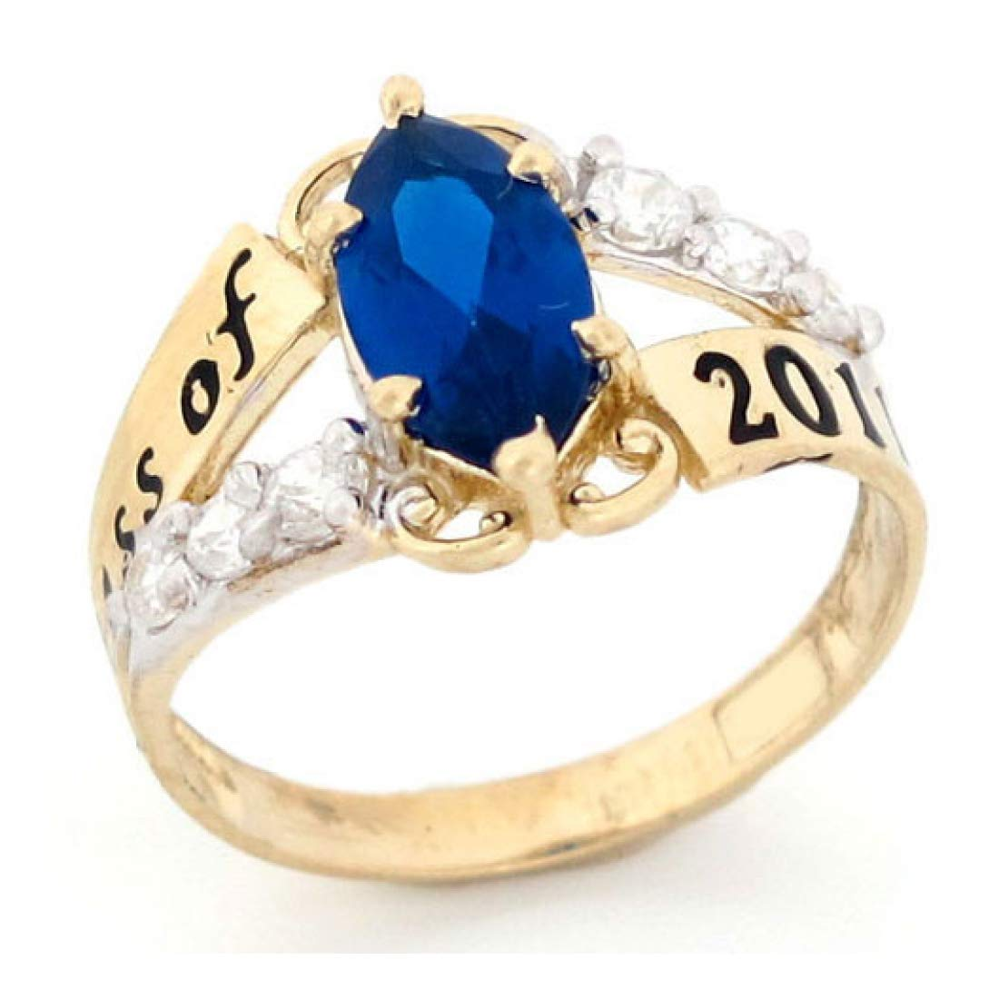 14k Gold CZ Simulated September Birthstone 2019 Graduation Ring