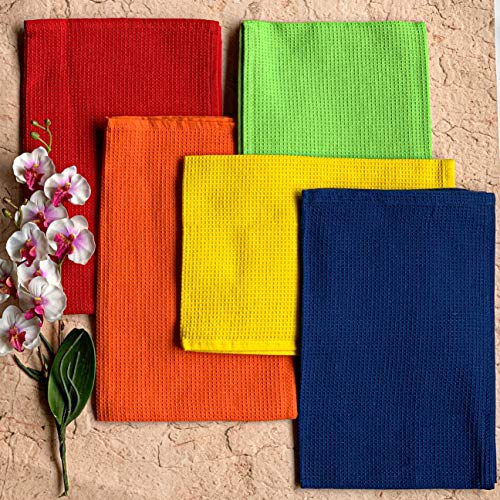 Pixel Home Superior Cotton Lunch Napkins Multi-Purpose Kitchen Cleaning Towel (Multicolour) (set of 5)