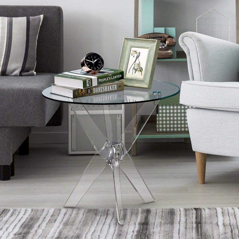 Amazon com furniture of america leras contemporary clear acrylic glass top round end table kitchen dining