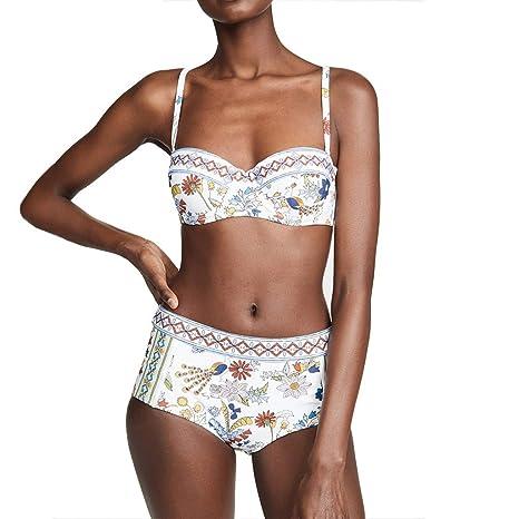 695feab26213 DaPeng Bikini Traje de baño, Cintura Alta Impresa Atractiva del ...