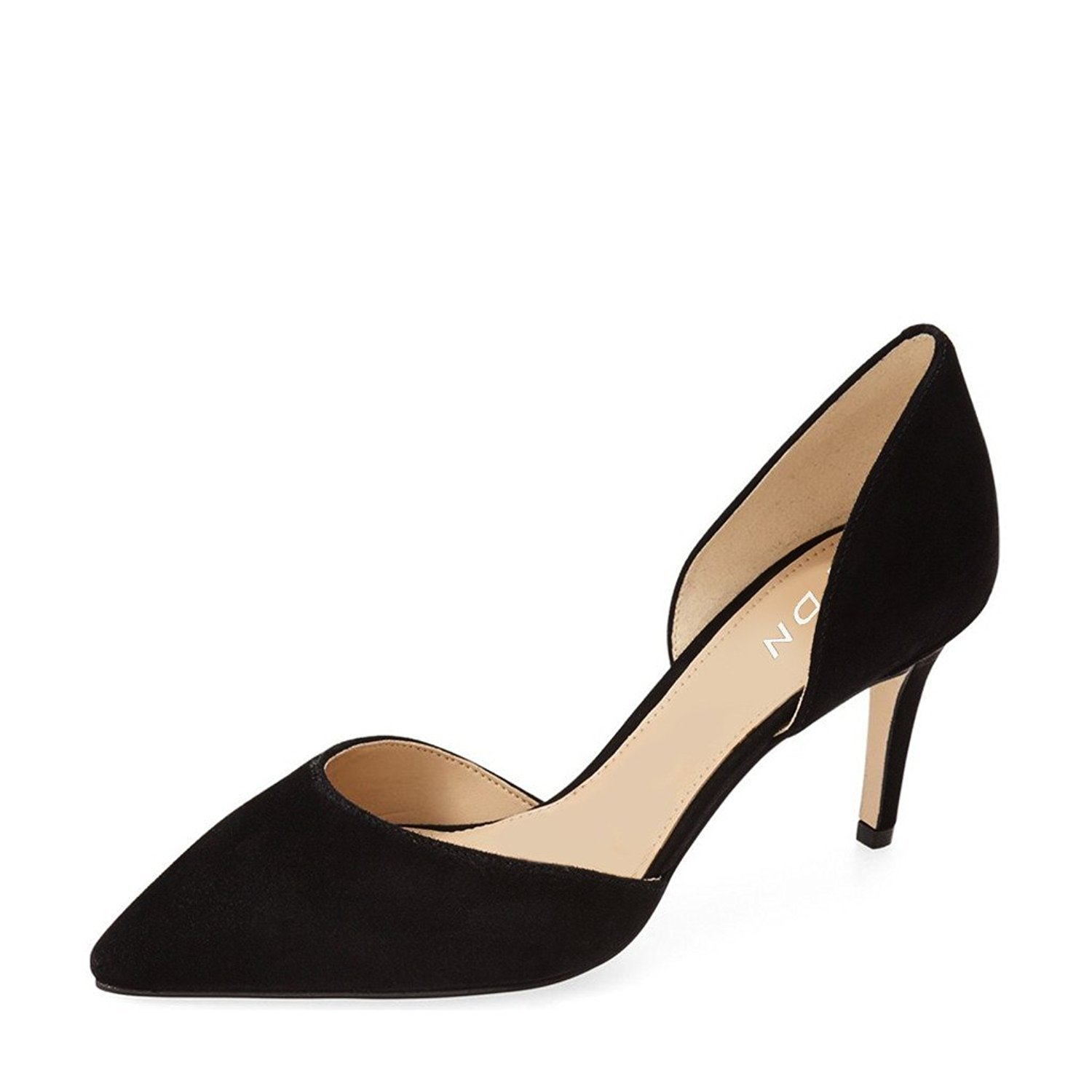 YDN Women Classic Low Heels D'Orsay Pumps Suede Pointed Toe Slip On Dressy Stilettos Shoes 8.5 (Black)