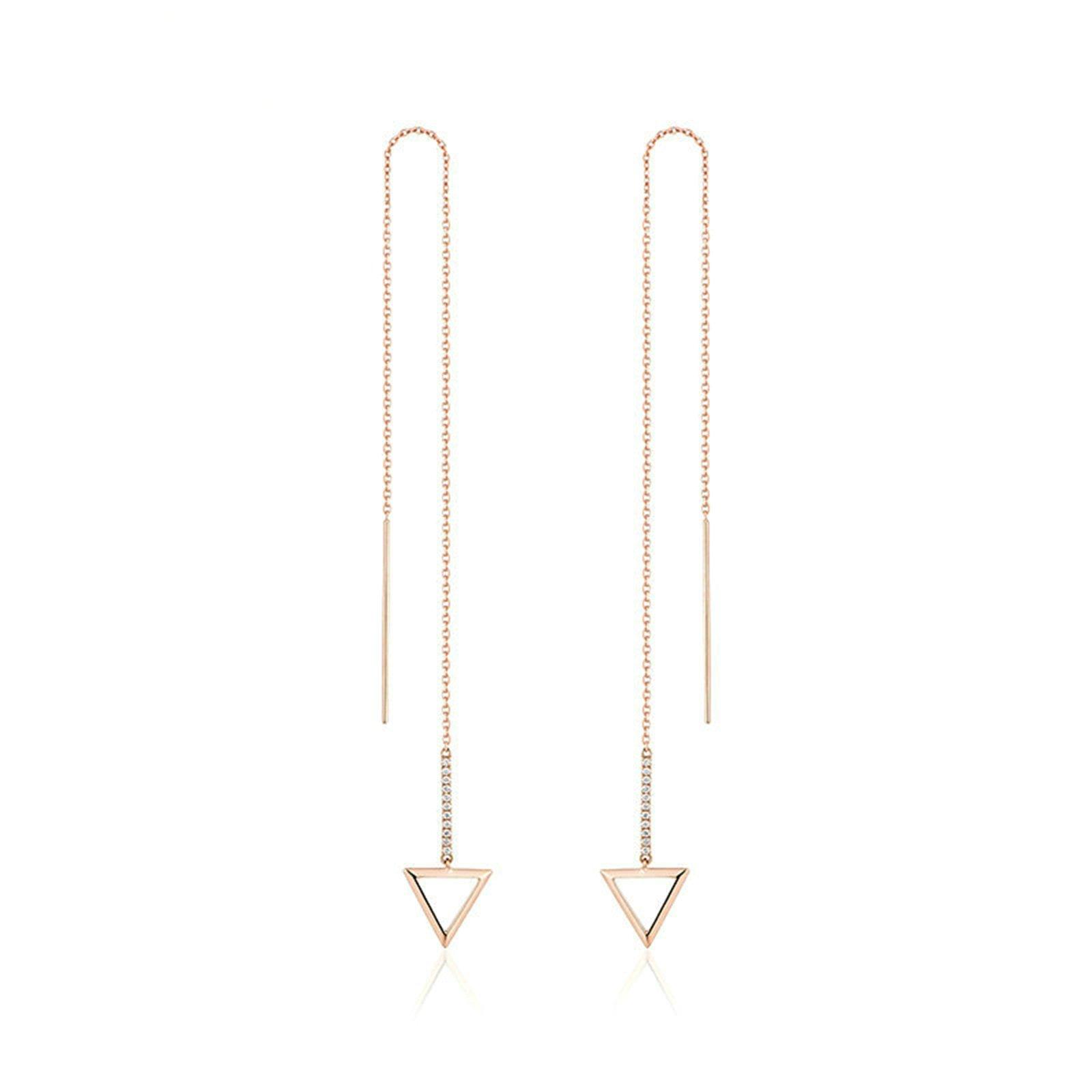 Gnzoe Silver Plated Women Diamond Stud Earrings Triangle Shape Tassel Stud Polished Ear Pierced