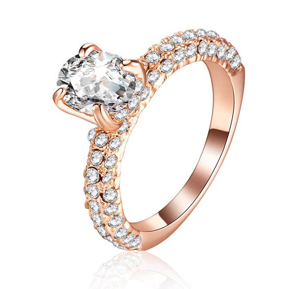 Rose Gold Rings for Women Teen Girls - Jiayit Two Rows of Small Diamonds, The Middle of a Big Stone Claw Rings (9, Rose Gold)