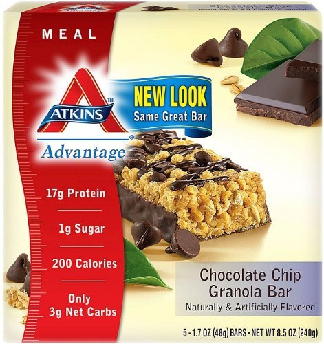 Advantage Meal Bars, Chocolate Chip Granola - 5 bars by Atkins Nutritionals by Atkins