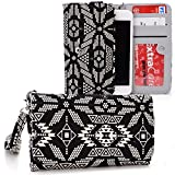 Kroo Samsung Galaxy S2 Plus | S3 Neo | S III | S4 mini Accessories | Black and Tan Tribal Aztec Urban Wallet with Bonus Wrist let Strap
