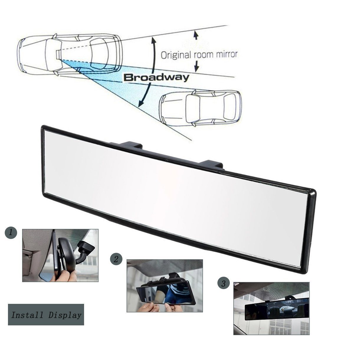 15.2/'/' L x 3.2/'/' H Rear View Mirror Accesories Wide Angle Reducing Blind Spots Dealsplaza Rear View Mirror for Car Universal Fitment 15.2/'/' with Interior Clip On