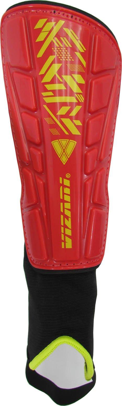 Vizari Malaga Shin Guard, Red/Yellow, XX-Small