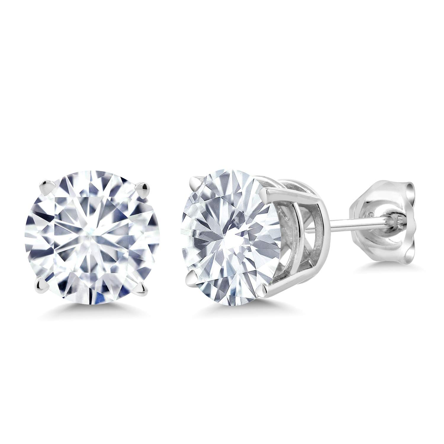 249c0934162ab 925 Sterling Silver Stud Earrings Forever Classic Round 2.00ct (DEW)  Created Moissanite by Charles & Colvard