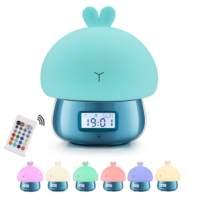 Children's Sleep Trainer, Kids Alarm Clock with Night Light, LED Alarm Clock for Boys Girls, Plug in Kids Alarm Clock with Remote Control, Portable USB Night Light, Gift Ideas XKD