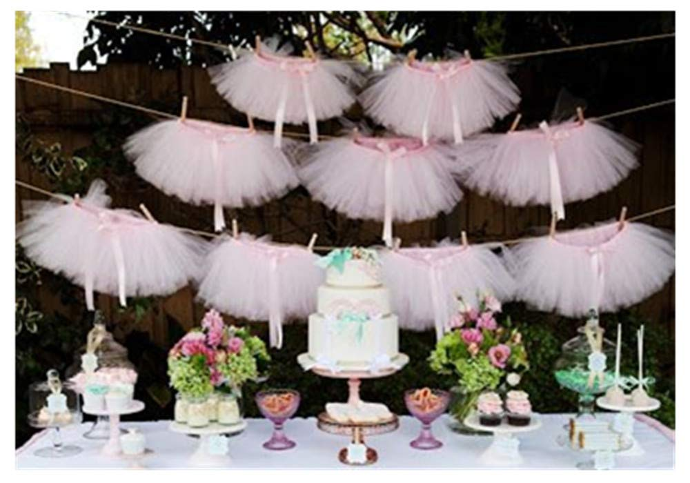 Originals Group Tutu Table Skirt,Baby Pink Tulle Tutu Table Skirt Decor, Birthday Event Wedding Party Decoration (Mini Pink Tutu Garland)