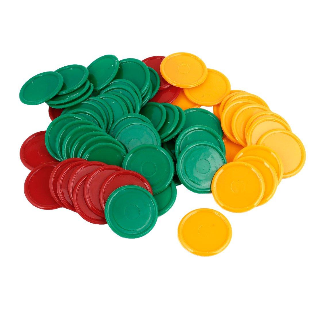 Vert Jaune Rouge 68 pièces en plastique Forme ronde Pocker Jeu de puces Sourcingmap a14053000ux0365