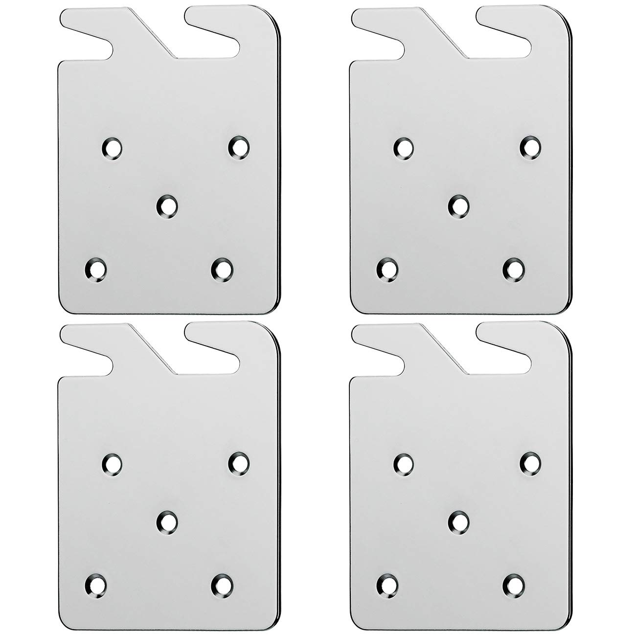Alasdo Bed Rail Hooks Plates for Wooden Beds Frame Bracket Replacement Wooden Bed Parts or New Bed Constructions - Set of 4