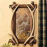 Antler & Wood Rustic Mirror – Cabin Decor For Sale