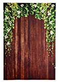 Photo Backdrop - Wooden Photo-Booth Background with Floral Design on Wood Flooring, Brown Photography Background for Studio, Wedding, Birthday Party, 5 x 7 Feet