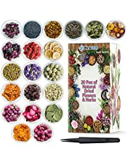 20 Bags Natural Dried Flowers Herbs for Soap Making, Bath, Candles, Resin, Jewelry, Nail, Lip Gloss, Home Decoration and Much More