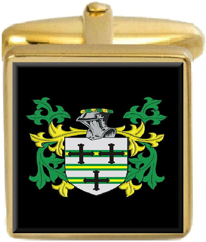 Select Gifts Kelsall England Family Crest Surname Coat Of Arms Gold Cufflinks Engraved Box