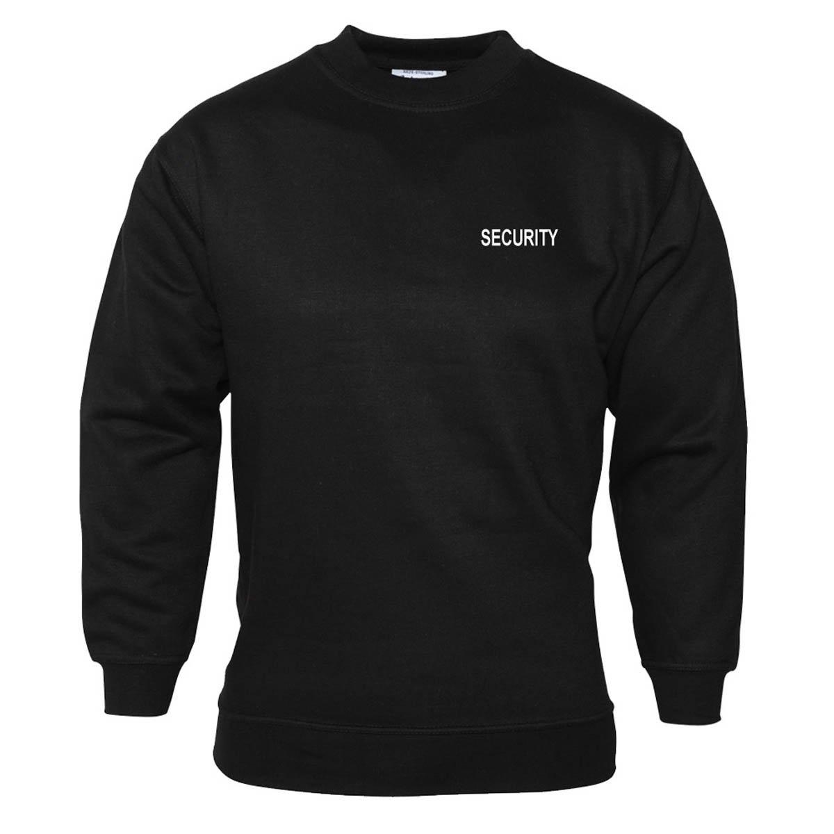 Workwear World Security Embroidered Doorman Bouncer Set-in Sleeve Black Sweatshirt