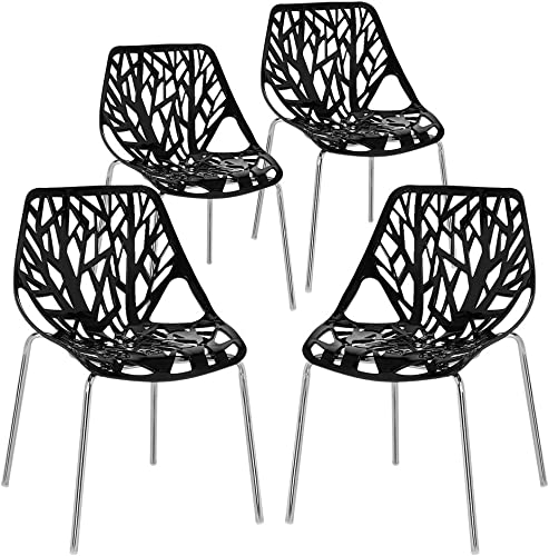 Bonnlo Modern Stackable Chair Set of 4 Kitchen Black Dining Chair Birch Sapling Comfy Chair