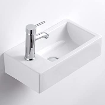 Qi Yi Bathroom Vanity Ceramic Vessel Sink Wall Mount Small Half Bathroom Corner Basin Faucet Pop Up Drain Left Hand