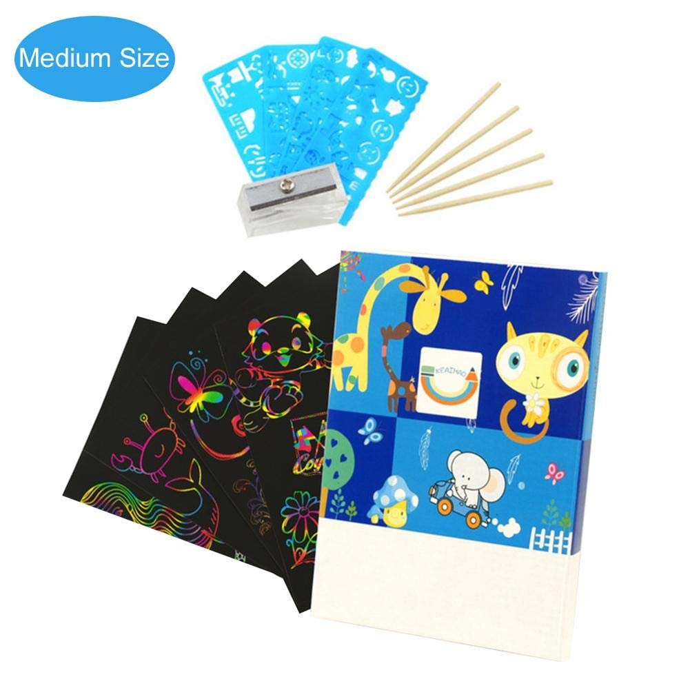heresell scratch paper for kids DIY Graffiti Painting Book with Pen Scratching Painting 27x22.5cm