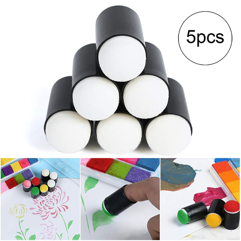 Yevison 5pcs Finger Sponge Daubers Art and Crafts Drawing Project Finger Painting Sponge Set Office Supplies Durable and Useful