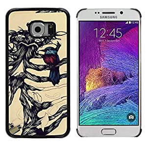 Paccase / SLIM PC / Aliminium Casa Carcasa Funda Case Cover - Bird Pencil Sketch Bones Skeleton - Samsung Galaxy S6 EDGE SM-G925