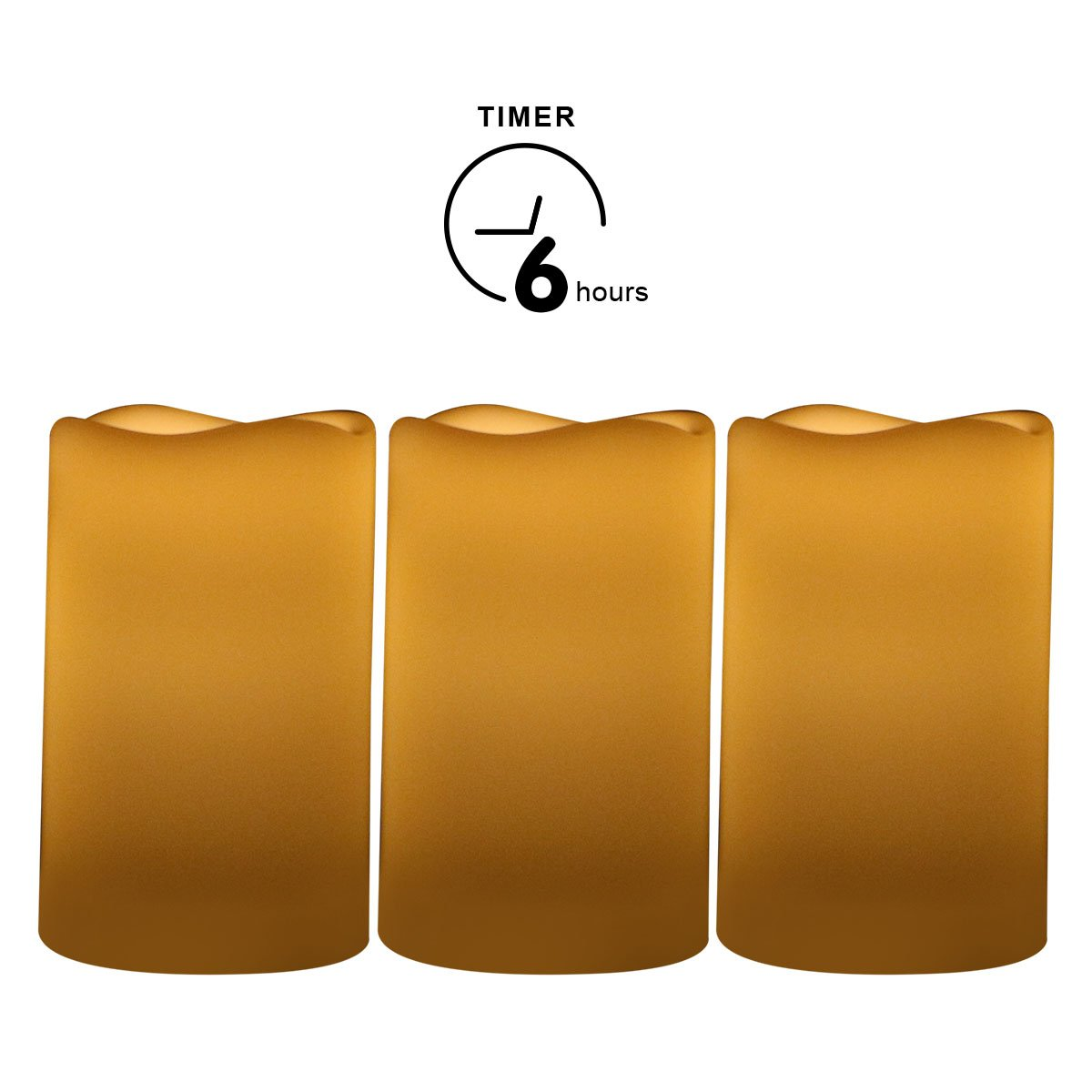 CANDLE CHOICE Outdoor Flameless Pillar Candles Set of 3,Waterproof Realistic Flickering Led Battery Operated Electric Candles with Timer 3''x5''