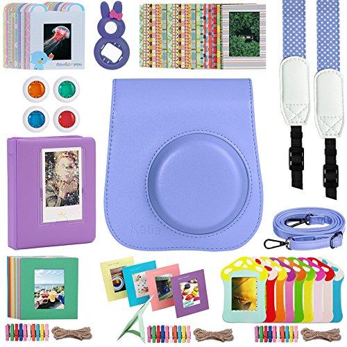 Katia Instant Camera Accessories Bundles Set for Fujifilm Instax Mini 8/8+ with Camera Case Purple/ Photo Albums/ Selfie Len/ Wall Hang Frame/ Border Stickers/ Filters/ Camera Strap (Purple)