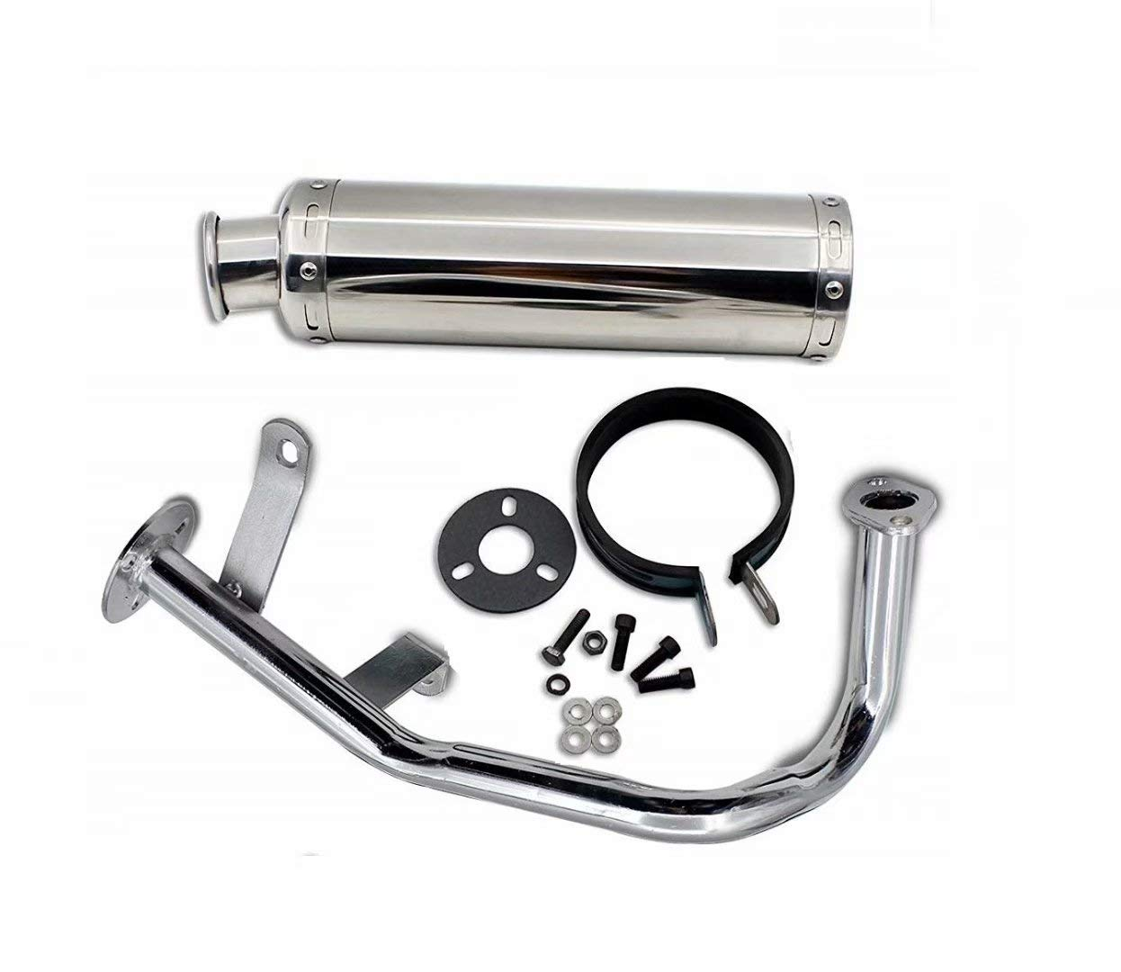 NEW! Performance Exhaust System Muffler for GY6 139QMB QMB139 1P39QMB 4 Stroke 50cc 150cc Scooters (50cc, Silver) by BLUE ELF