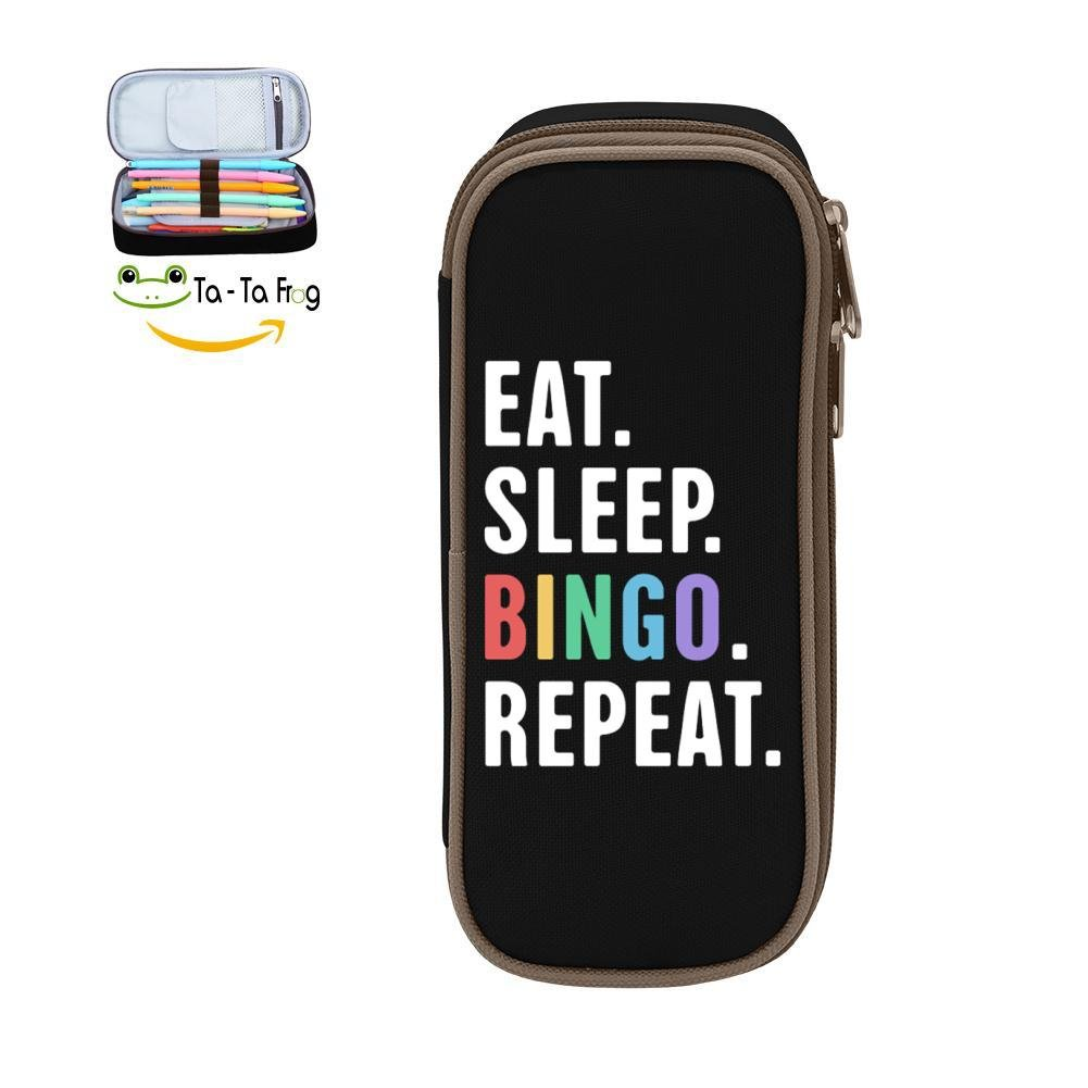 KuenT Eat. Sleep. Bingo. Repeat. Students' Big Pencil Bag Pen Case Pouch 3D Holder Sack Black