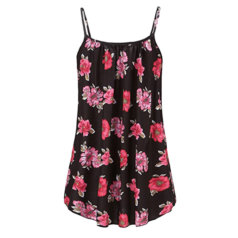 Women's Plus Size Summer Tanks Printed O-Neck Sleeveless Sling Vest Blouse Tank Tops Dress Camis Clothes (Multicolor, 3XL) by Aurorax Dress (Image #3)