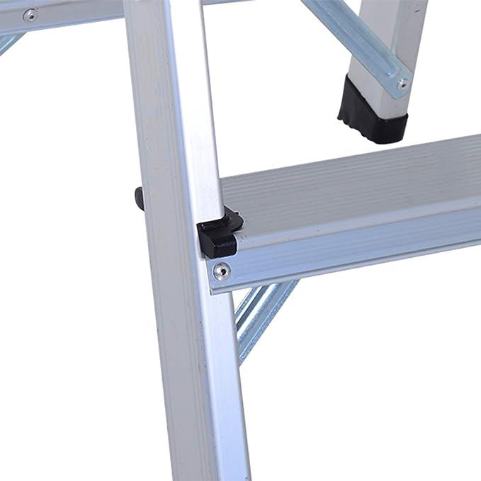 Escalera de mano, doble escala, aluminio plegable ligero con pie antideslizante, 3 x 2 peldaños, carga máx 150 kg, color plateado, nueva.: Amazon.es: Bricolaje y herramientas