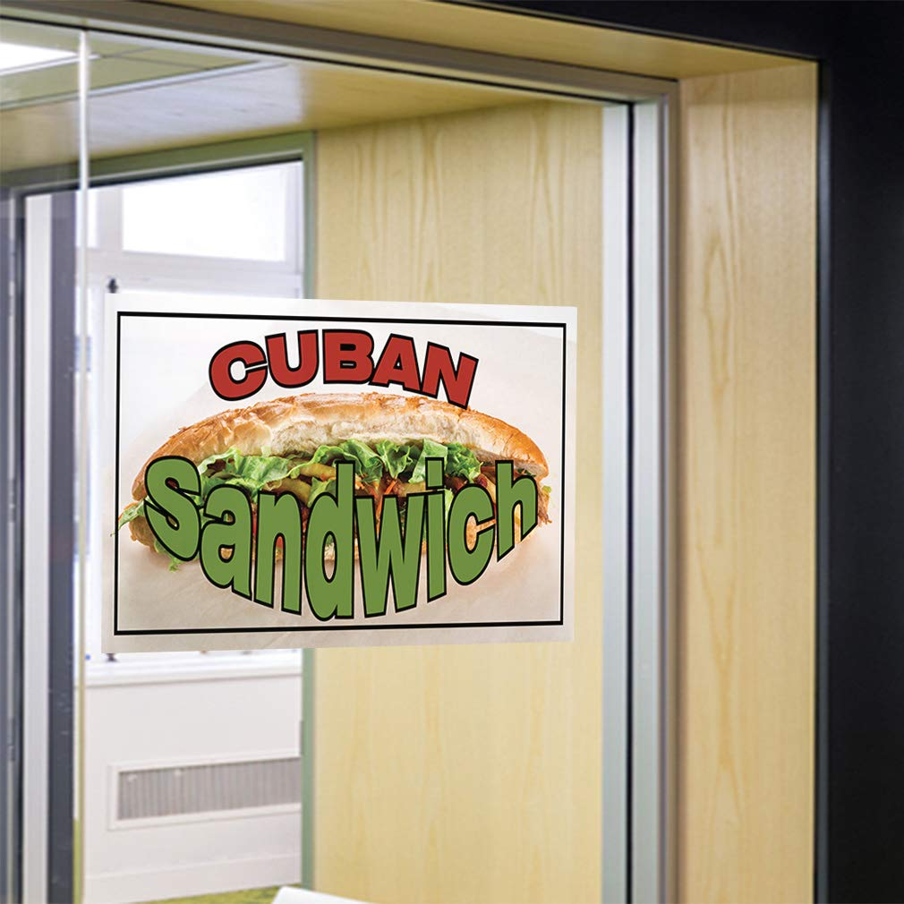14inx10in Set of 10 Decal Sticker Multiple Sizes Cuban Sandwich #1 Style A Business Cuban Sandwich Outdoor Store Sign Green