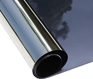 ConCus-T Window Tinted Film Heat Control Anti-uv One Way Privacy Solar Film Home Office Seurity Static Cling No Glue Easy to Use,Black 23.62x78.74''